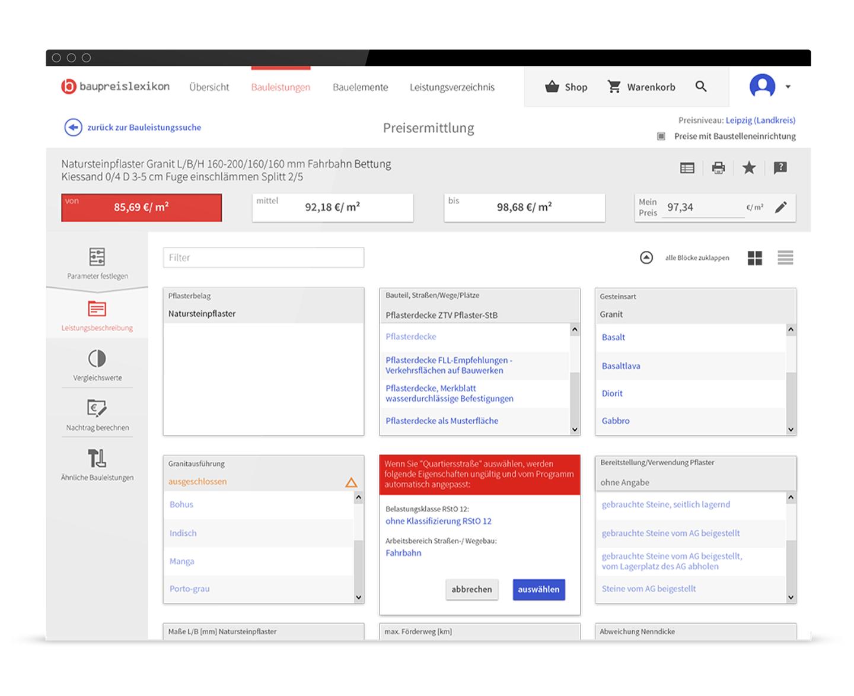 Interface Design Baukostensoftware