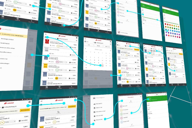 Interaktionen Lieferservice App