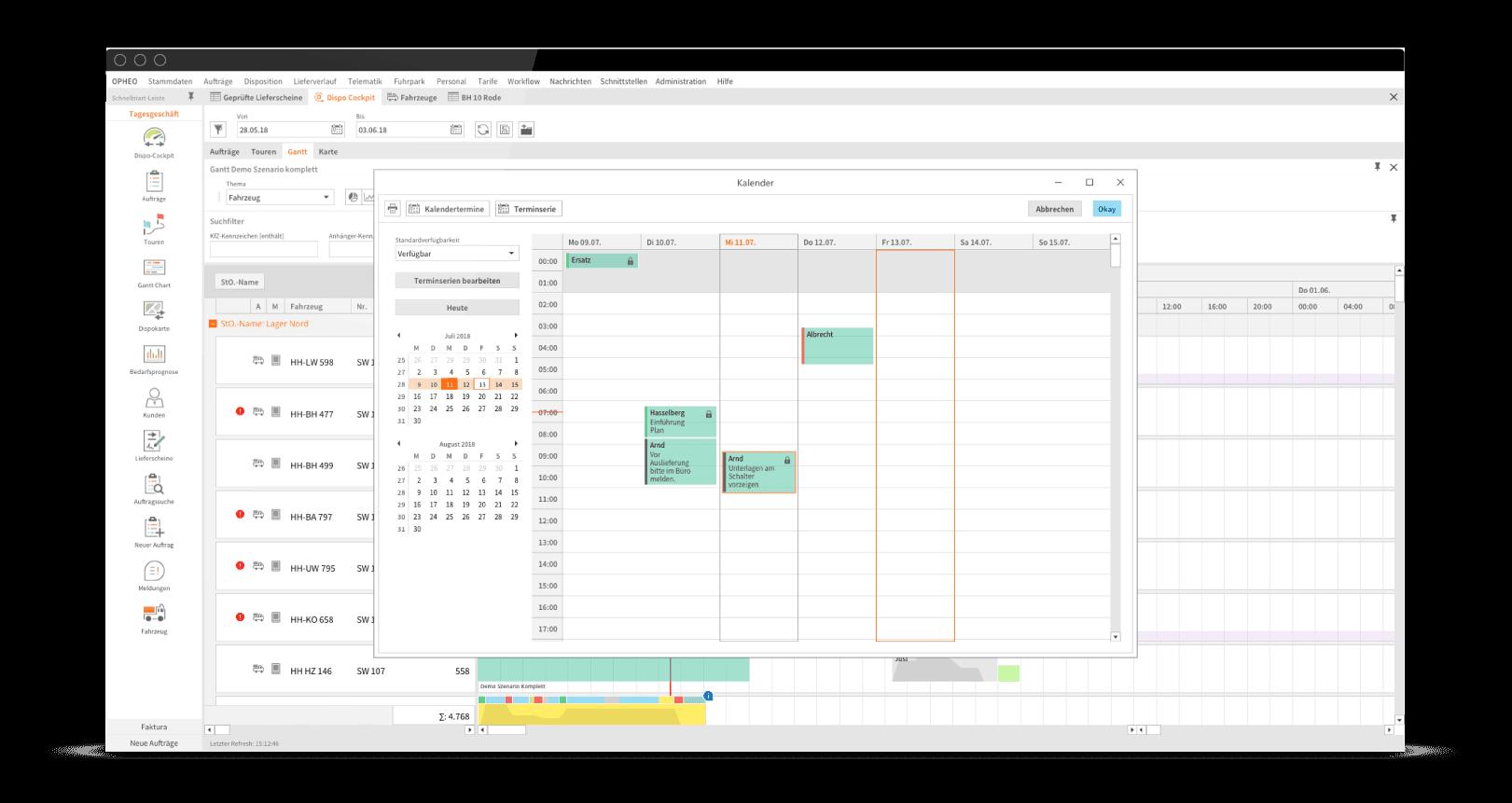 OPHEO Logistiksoftware Kalender-Tool