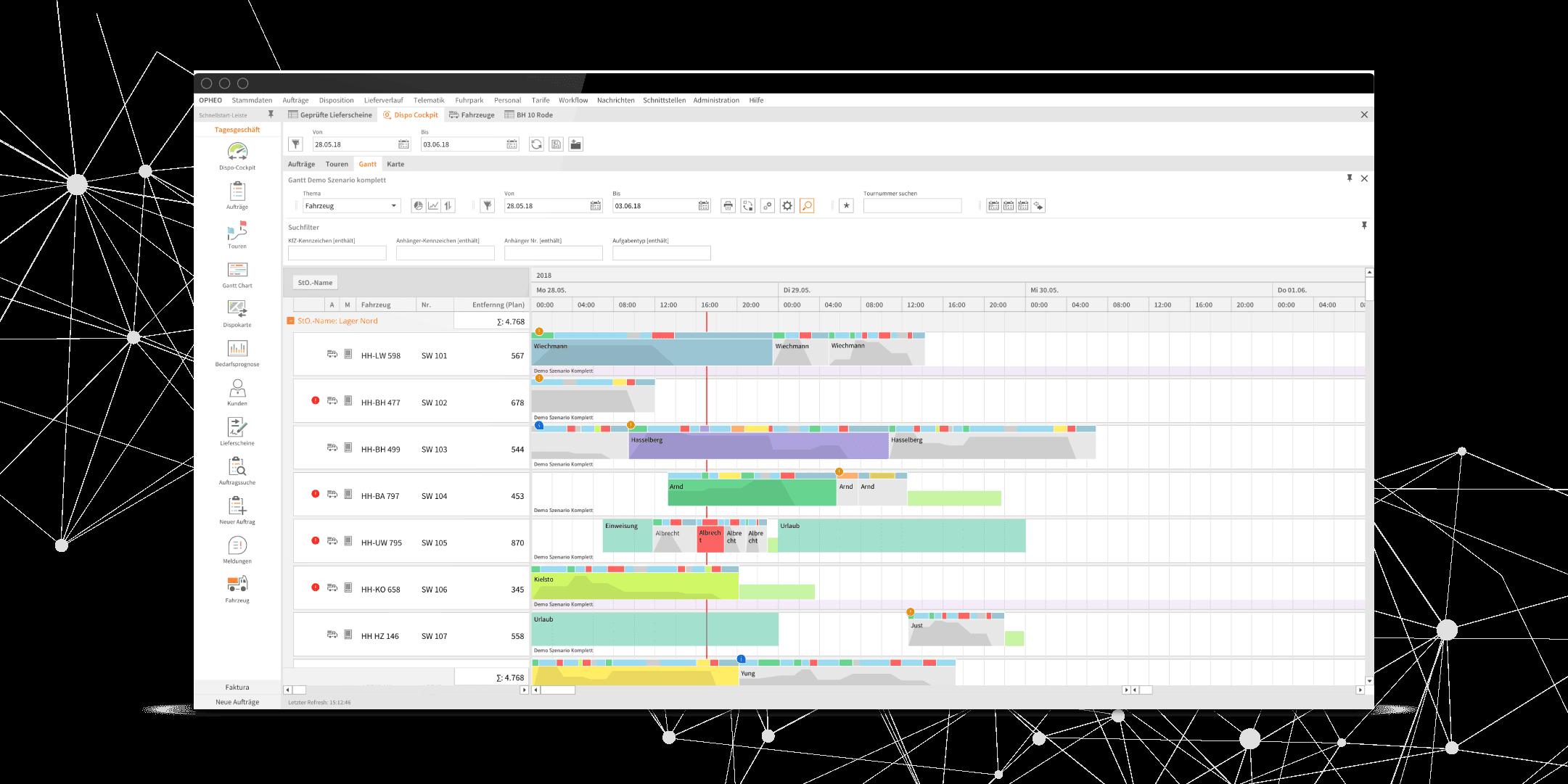 Gantt Chart OPHEO Logistiksoftware