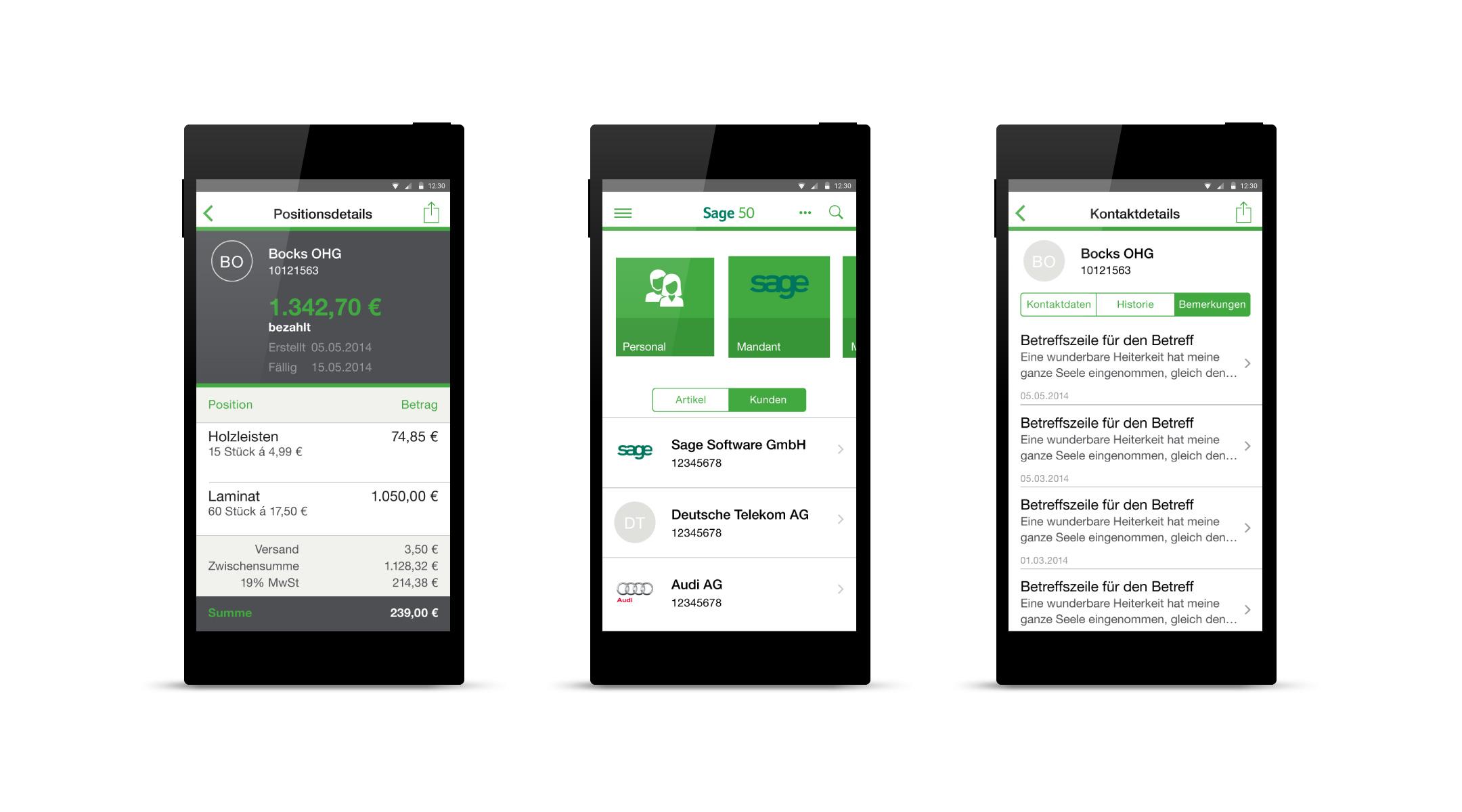 Mobile UI Unternehmenssoftware