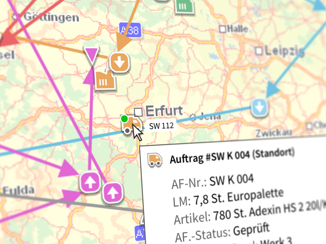 Map Logistiksoftware Detail mit Tooltip